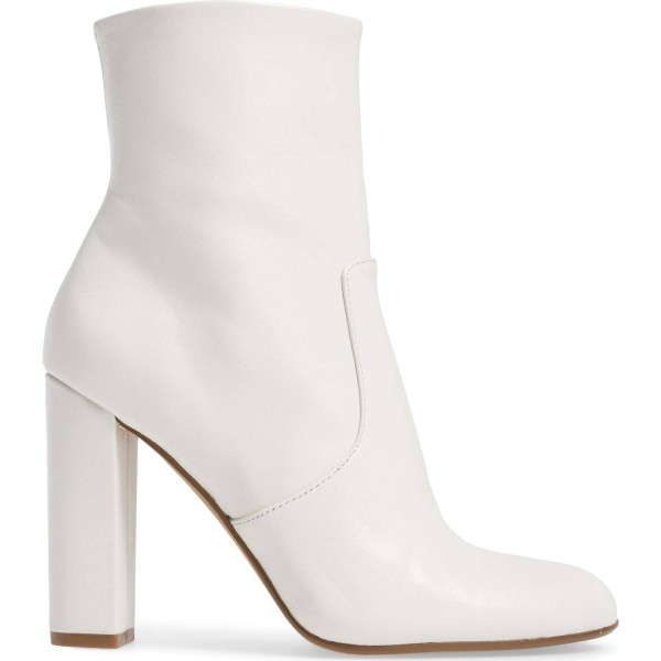 Women's Fashion White Chunky heel Boots Classical Zip Ankle Boots image 5
