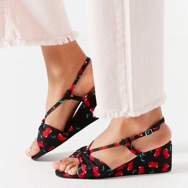 Women's Floral Wedge Sandals Open Toe Slingback Sandals image 1