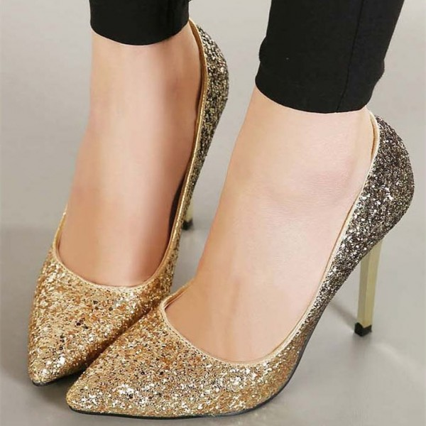 Women's Golden Glitter Shoes Pointed Toe Stiletto Heels Wedding Shoes image 1