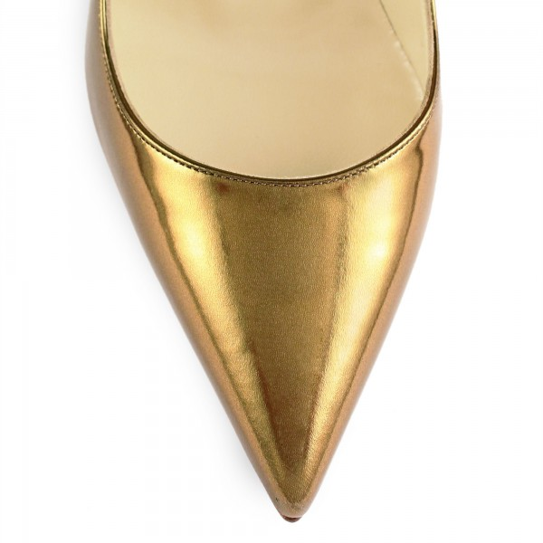 Gold Metallic Heels Pointy Toe Stiletto Heel Pumps for Office Lady image 2