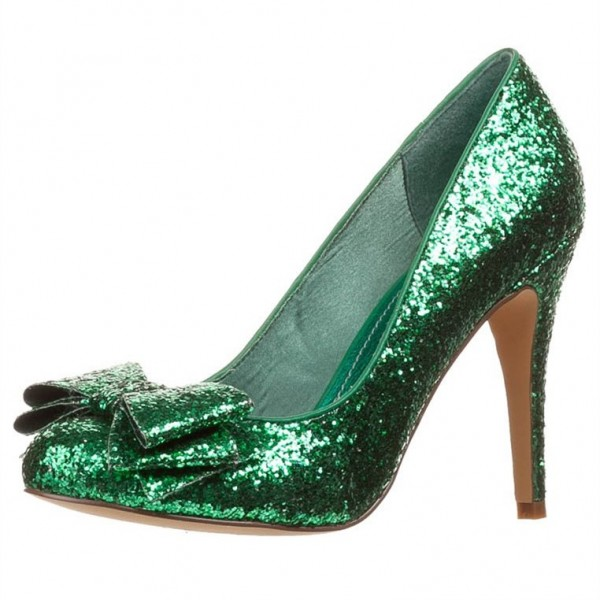 Green Glitter Shoes Chunky Heel Pumps Bow Heels US Size 3-15 image 1