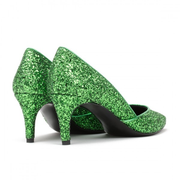 Women's Green Glitter Stiletto Heels Pointy Toe Dress Shoes for Party image 2