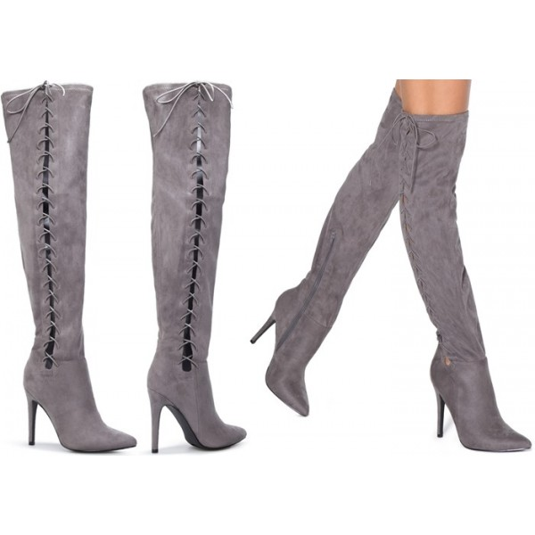 Grey Long Boots Suede Side Thigh High Lace Up Boots image 5