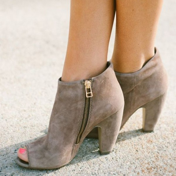Taupe Boots Suede Peep Toe Chunky Heel Retro Ankle Boots image 1