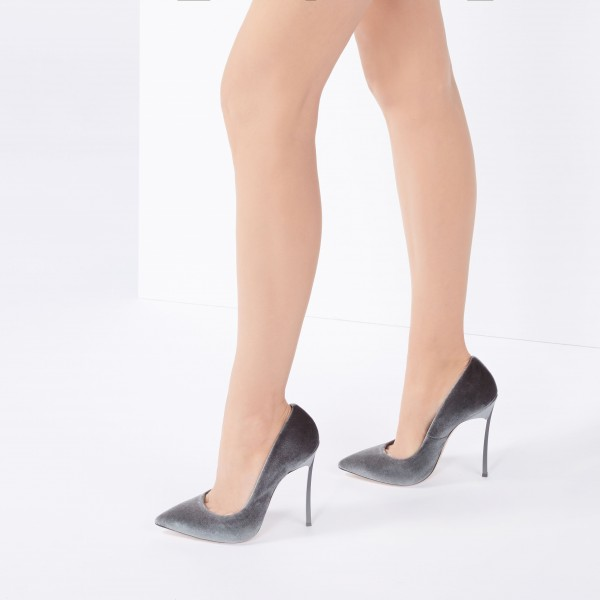 Women's Grey Velvet Heels Pointy Toe Stiletto Heels Pumps image 3