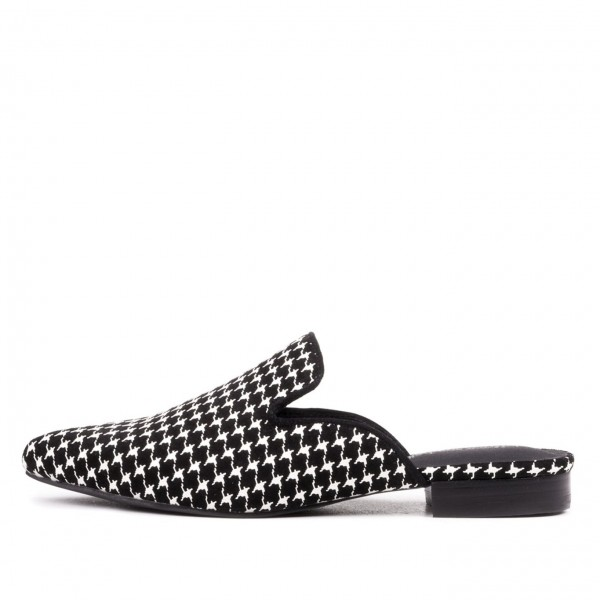 Houndstooth Loafer Mules Comfy Flat Loafers for Women image 1
