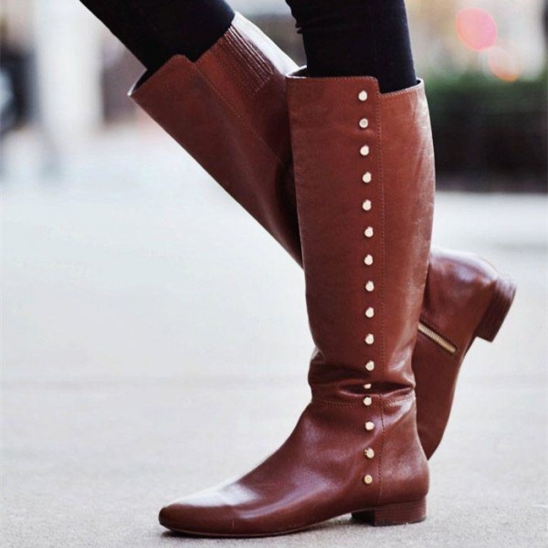 Brown Studs Flat Knee Boots Vintage Shoes US Size 3-15 image 1