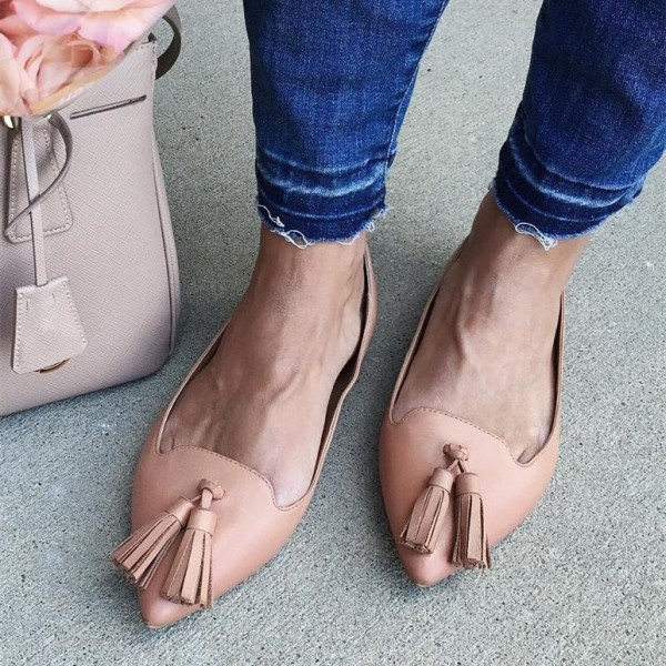 Blush Pointy Toe Flats Tassel Comfortable Shoes image 1