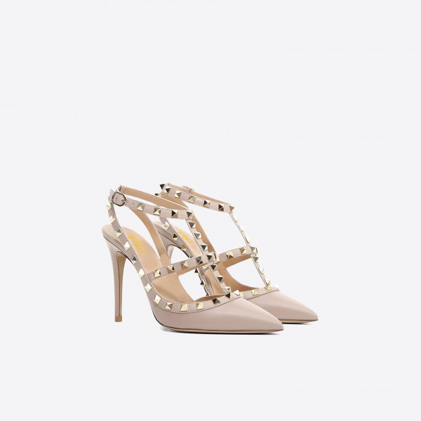 Nude Studs Shoes Slingback T Strap Stiletto Heel Pumps image 5