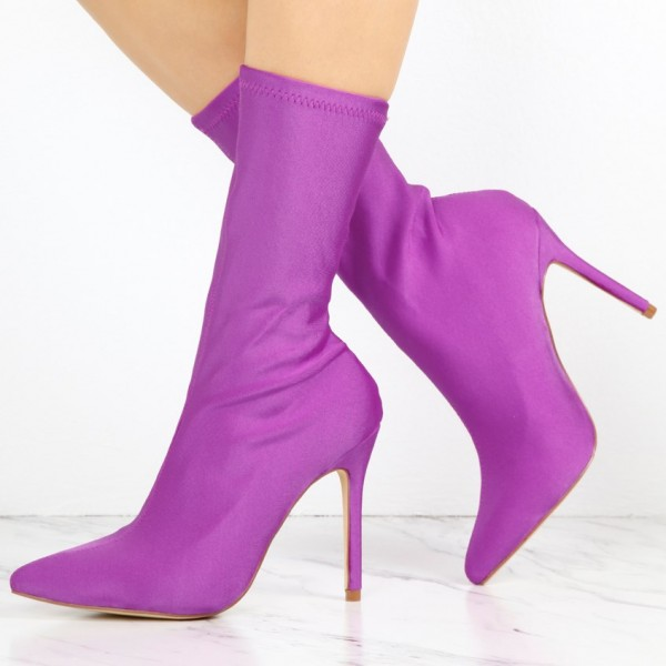 Purple Lycra Sock Boots Pointy Toe Stiletto Heel Mid Calf Boots image 1