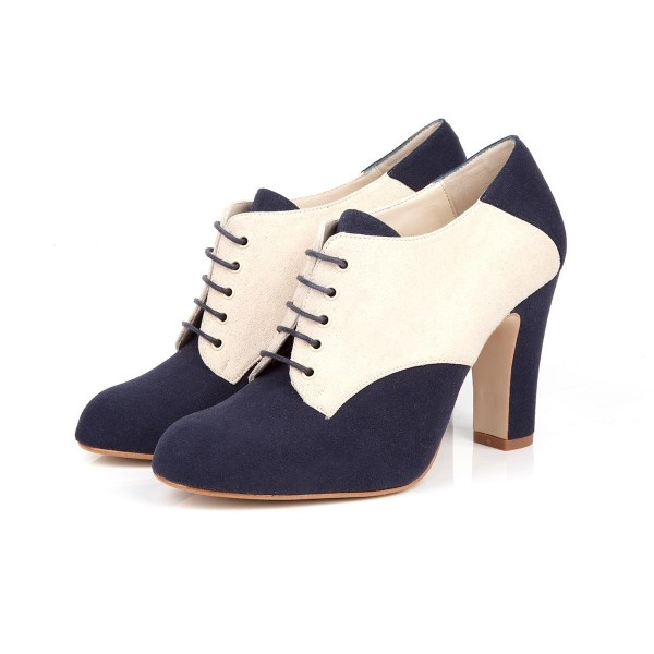 Navy and Ivory Suede Oxford Heels Lace
