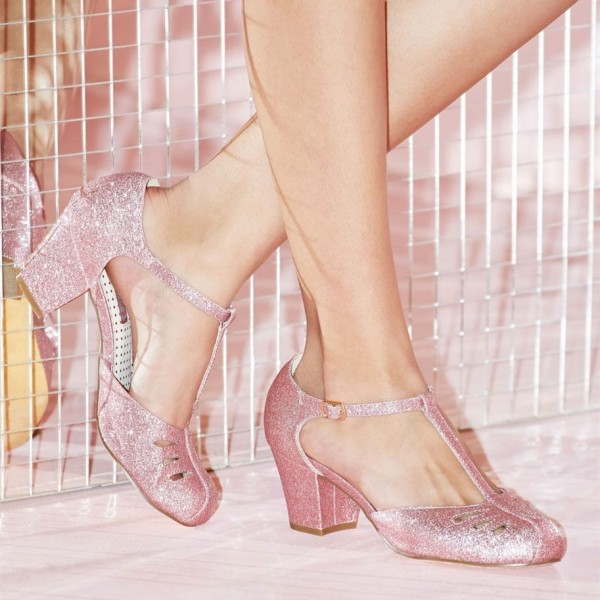 Women's Pink Girlish Glitter T-Strap Shoes Chunky Heels Vintage Shoes image 5