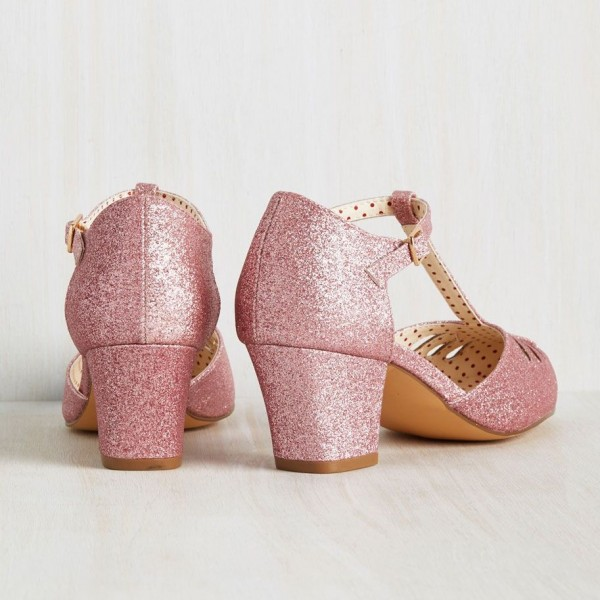 Women's Pink Girlish Glitter T-Strap Shoes Chunky Heels Vintage Shoes image 4
