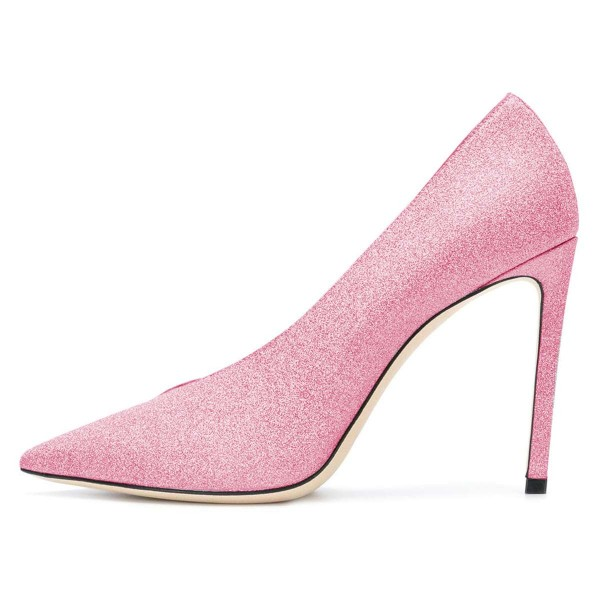 Women's Pink Pointy Toe Stiletto Heels Glitter Shoes image 2