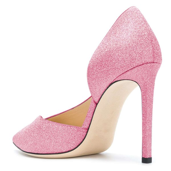 Women's Pink Pointy Toe Stiletto Heels Glitter Shoes image 3