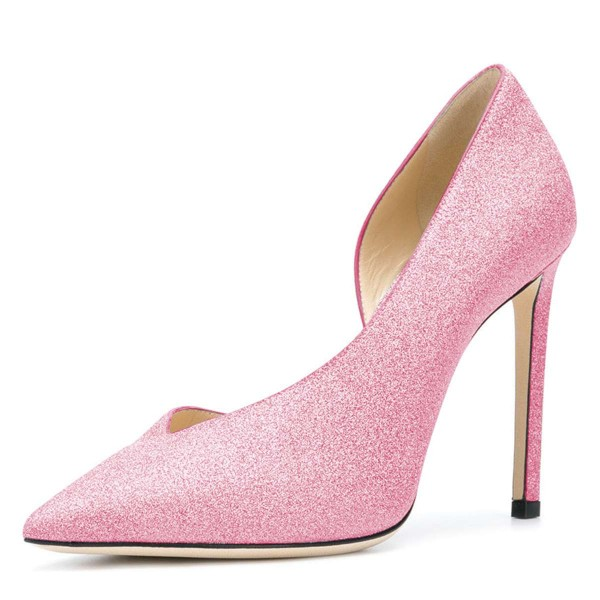 Women's Pink Pointy Toe Stiletto Heels Glitter Shoes image 1