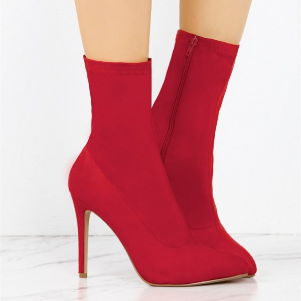 Red Lycra Sock Boots Pointy Toe Stiletto Heel Ankle Booties image 2