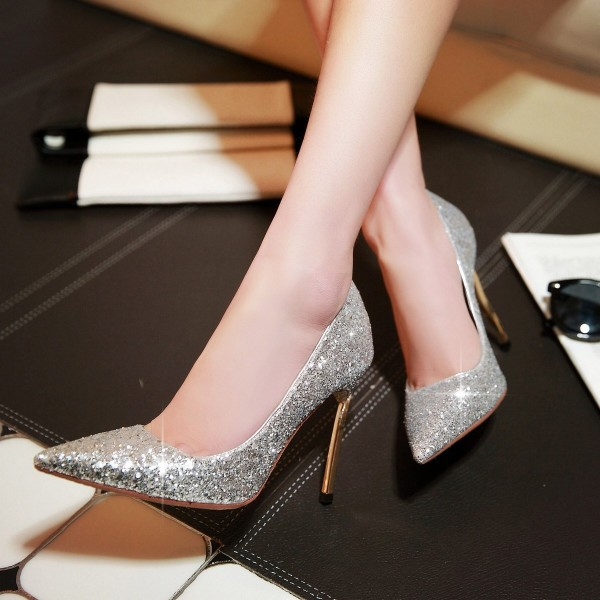 Silver Glitter Shoes Pointy Toe Blade Stiletto Heel Sparkly Pumps image 1