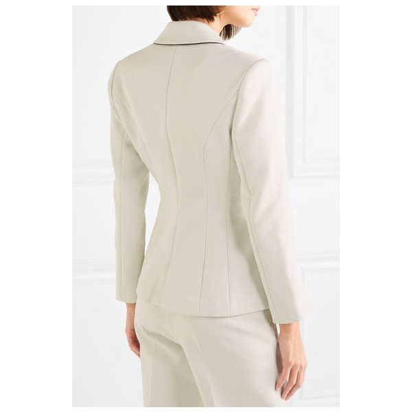 Women's White Double-breasted Satin-crepe Blazer Business Clothes image 4