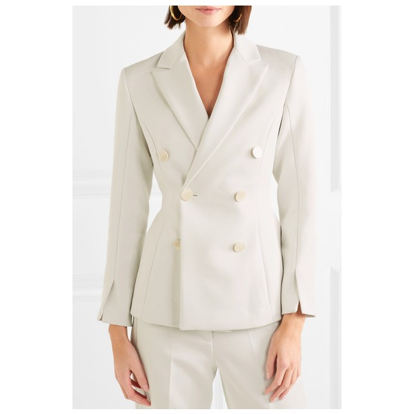 Women's White Double-breasted Satin-crepe Blazer Business Clothes image 1