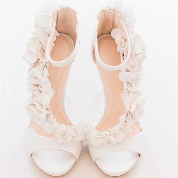 Ivory Wedding Shoes Satin Flowers Peep Toe Ankle Strap Sandals image 1