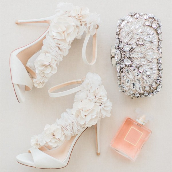 Ivory Wedding Shoes Satin Flowers Peep Toe Ankle Strap Sandals image 2