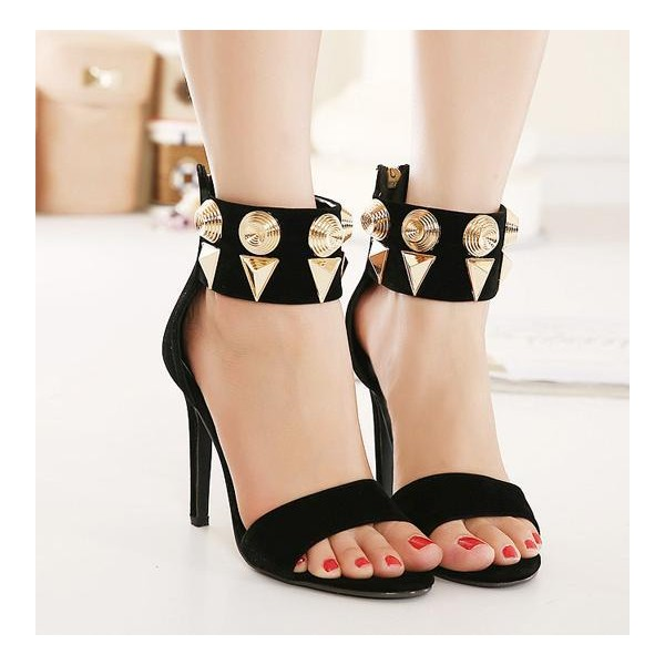 Black Oversize Rivets Suede Stiletto Heels Ankle Strap Sandals image 2