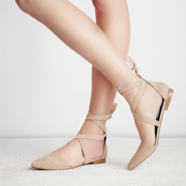 Nude Vegan Suede Pointy Toe Flats Strappy Flat Shoes US Size 3-15 image 2