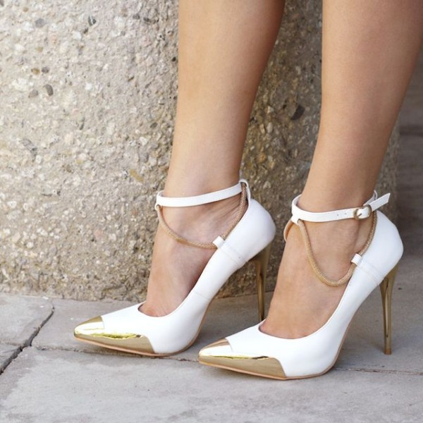 White and Gold Ankle Strap Heels Pointy