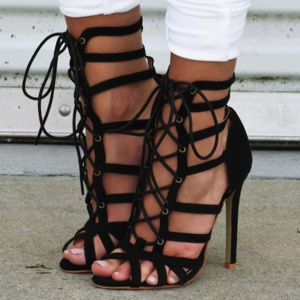 Black Lace up Sandals Strappy Open Toe Stiletto Heels Shoes image 1