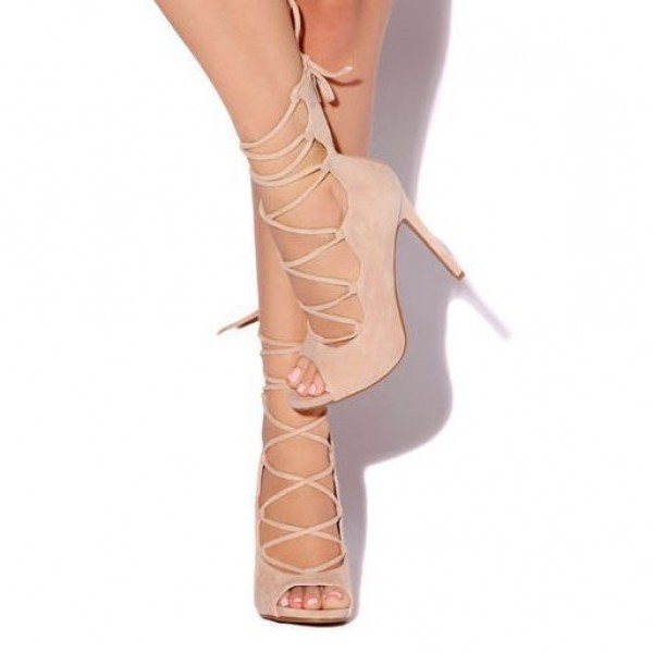Blush Peep Toe Lace up Strappy Sandals Stiletto Heels Shoes image 1