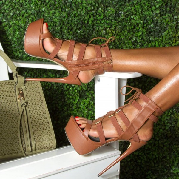 Tan Lace up Heels Platform Sexy High Heel Shoes US Size 3-15 image 1