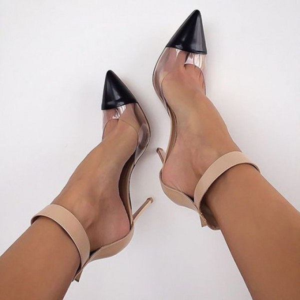 6e09ec2ead62e Clear Heels Nude Transparent Ankle Strap Pointy Toe Stiletto Heel Pumps