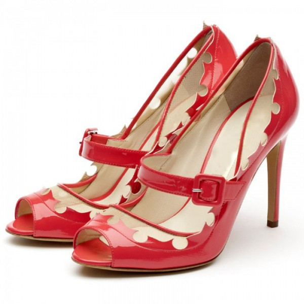 Women's Red Mary Jane Shoes Peep Toe Stiletto Heels Vintage Shoes image 1