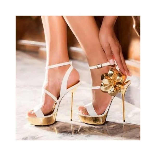 White and Gold Evening Shoes Stiletto Heel Platform Flower Prom Shoes image 1