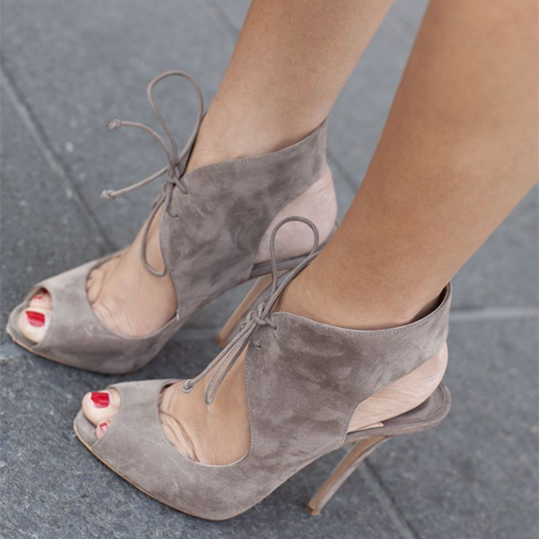 Grey Lace up Heels Peep Toe Cut out Slingback Pumps Suede Shoes image 1