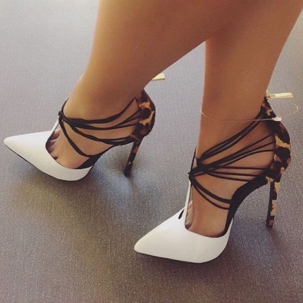 White and Khaki Leopard Print Heels T Strap Strappy Pumps image 1