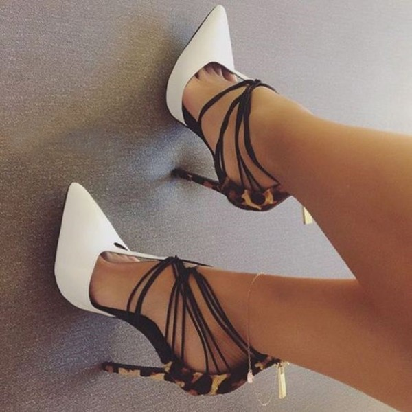 White and Khaki Leopard Print Heels T Strap Strappy Pumps image 2