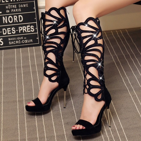 Black Gladiator Heels Lace up Stiletto Heel Platform Sexy Shoes image 4