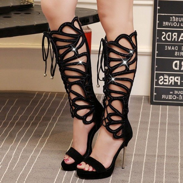 Black Gladiator Heels Lace up Stiletto Heel Platform Sexy Shoes image 1
