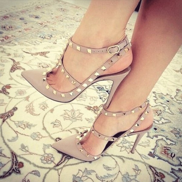 Nude Studs Shoes Slingback T Strap Stiletto Heel Pumps image 1