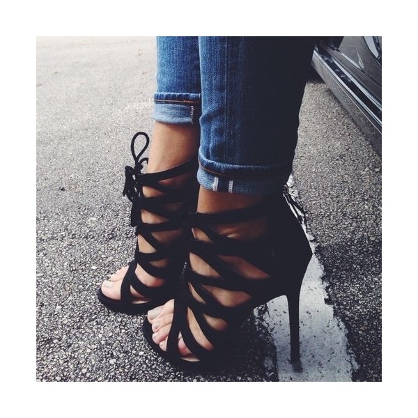 Black Lace up Sandals Strappy High Heel Shoes US Size 3-15 image 1