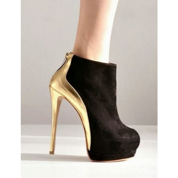 Black and Gold Platform Boots Stiletto Heel Fashion Ankle Boots image 2