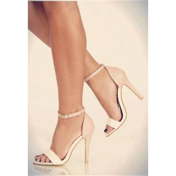 Women's White and Blush Ankle Strap Sandals Stiletto Heels Dress Shoes image 2