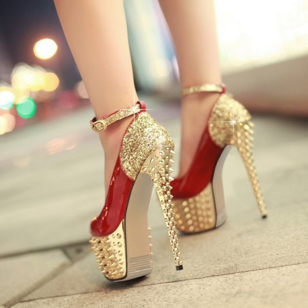 Red and Gold Heels Glitter Rivets Stiletto Heels Stripper Shoes image 2