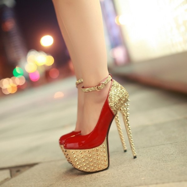 Red and Gold Heels Glitter Rivets Stiletto Heels Stripper Shoes image 1