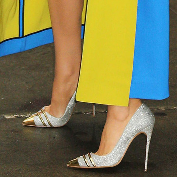 Silver and Gold Glitter Shoes Stiletto Heel Evening Wedding Pumps image 4