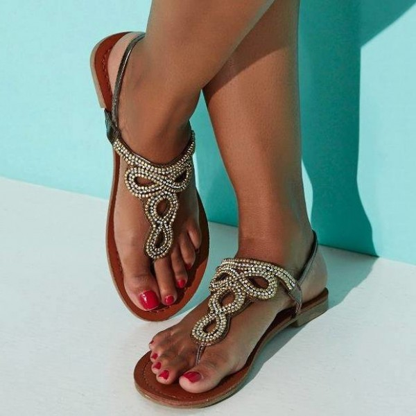 Brown Beaded Thong Sandals Flat Summer Beach Sandals US Size 3-15 image 1