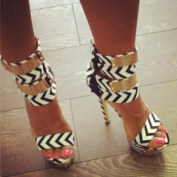 Black and White Heels Platform Sandals Stiletto Heels Stripper Shoes image 2