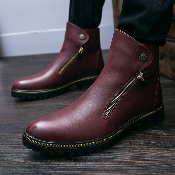 Burgundy Zipper Details Motorcycle Boots Round Toe Flat Ankle Boots image 6